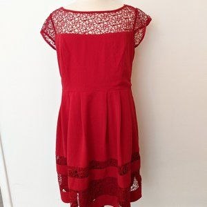 Siren! Red Fit and Flare Crochet Top Dress